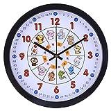 LVPY Kinderwanduhr, 30 cm Kinder Wanduhr ohne Ticken und Farbenfrohem Tieren Design Motiv Dekoration Uhr Wand Für Mädchen Und Jungen (Schwarz)