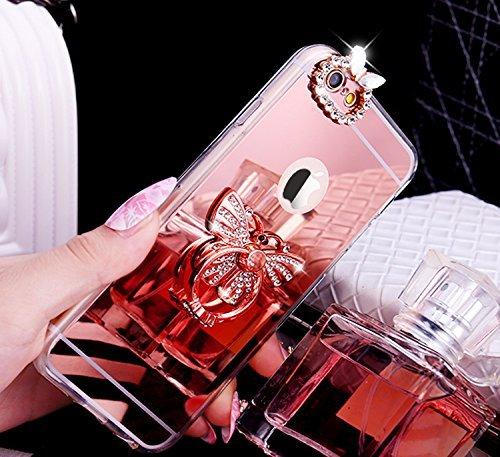 iPhone 7 Plus Coque,iPhone 7 Plus Housse Diamant,ETSUE Mode Luxe Miroir Bling Glitter iPhone 7 Plus Silicone Coque Luxueux Crystal Scintiller Doux Coque Bague Etui Rose Romantique Élégant Fleur Couron Papillon Or Rose
