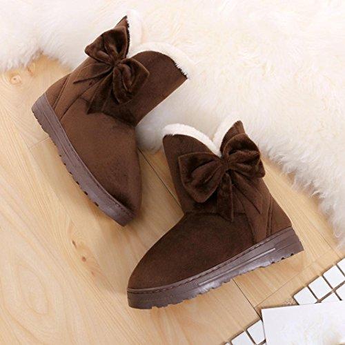 Longra Donne che ispessiscono scarponi da neve invernali caldi Caffè