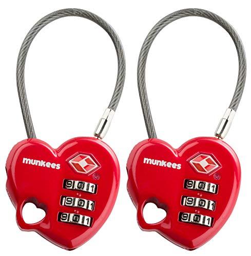 munkees 2 x TSA Schloss I Padlock I Zahlenschloss I Lock I Travel Accessoires I Kofferschloss, Doppelpack 36069