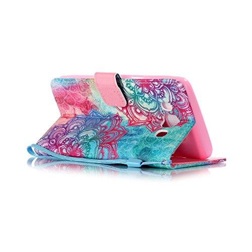 "Ooboom® iPhone 7 4.7"" Hülle Flip PU Leder Schutzhülle Handy Tasche Case Cover Wallet Standfunktion mit Kartenfächer Trageschlaufe - Eule Totem Blume"