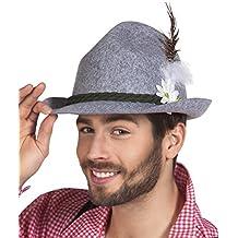 erdbeerclown - Bayerischer filzartiger Trachten Hut mit Feder und Blume Kostüm, Grau