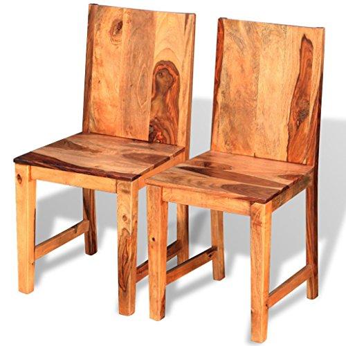 Festnight 2 Stücke Esszimmerstühle Essstuhl Set aus Sheesham-Holz Küchen Sitzgruppe Küchenstuhl Holzstühle 40x46x87cm für Wohnzimmer oder Esszimmer