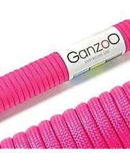 Ganzoo–Cuerda de supervivencia multifuncionales paracaídas Paracord (cuerda trenzada de nailon), soportan hasta 250kg, longitud total de 15m (50ft) Color: MAGENTA–Marca Ganzoo...