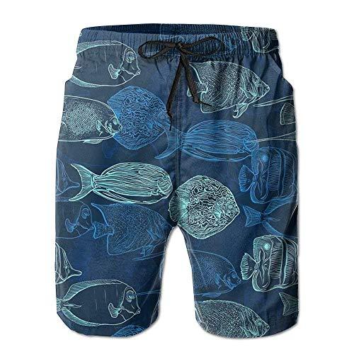 kslae Tropische Fische Jungen Workout Surf Board Shorts Quick Dry Badehose -