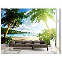 Beach Island Palm Tree Wallpaper Wall Mural Ocean Sand Sky Photo Summer Poster Wall Decoration