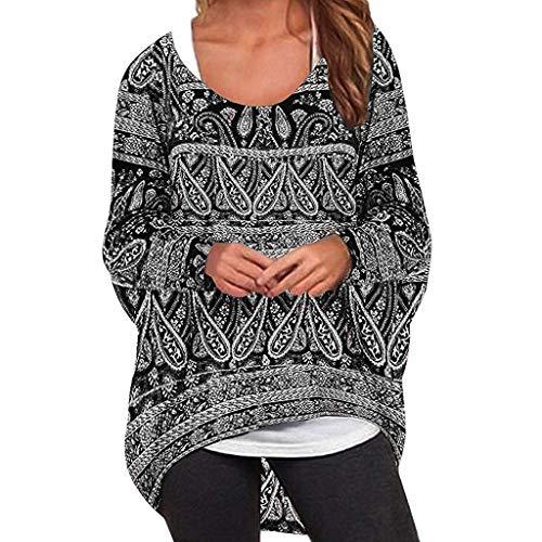 Floweworld Damen mit Blumenmuster Bluse Beiläufiges Batwing Langarm-Maxi-Baggy Sweater Pullover T-Shirt Rundhals Tuniken -