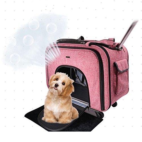Haustier Rollender Träger mit Rucksackgurte Entfernbar Vier Räder Katze Hund Ausflug Tragbar Atmungsaktiv Trolley-Tasche. Cacoffay,Pink (Öffnen Sie Tasche Pet Carrier)