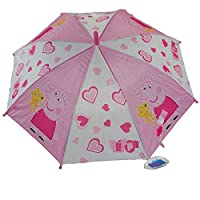 CrazyGadget® Peppa Pig Pink Umbrella Automatic Easy Holding Push Button Kids Children Rainy Days Travel Accessories