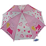 CrazyGadget® Peppa Pig Pink Umbrella High Quality Automatic Easy Holding Push Button Kids Children Rainy Days Travel Accessories