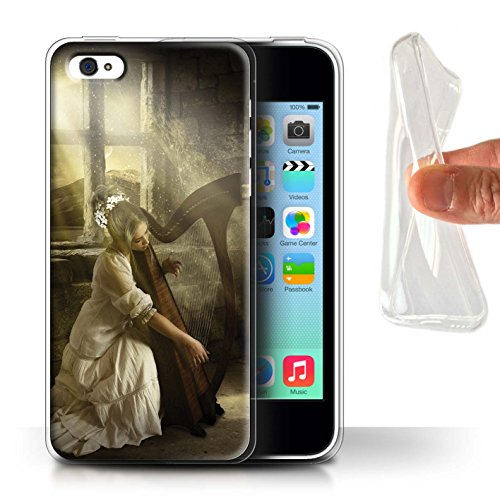 Officiel Elena Dudina Coque / Etui Gel TPU pour Apple iPhone 5C / Abandonné Design / Réconfort Musique Collection Harpe/Harpiste