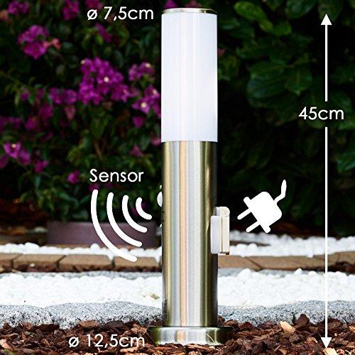 sockellampe mit steckdose und bewegungsmelder aus edelstahl von hofstein. Black Bedroom Furniture Sets. Home Design Ideas