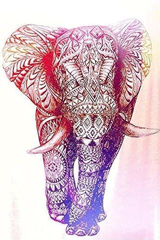 Boho Wanddecke, psychedelischer Elefant, Baum des Lebens, Blumenmuster, Mandala, geeignet