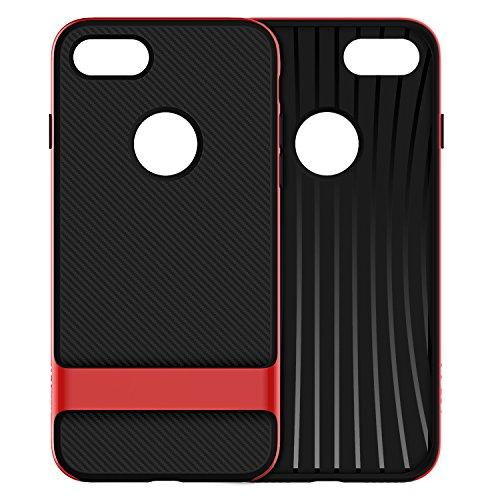 JETech Coque iPhone 8 7 Case Cover Housse Etui avec Shock-Absorption et Fibre de Carbone (Gris) Rouge