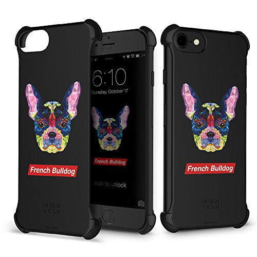 iPhone 7Fall (11,9cm), DesignSkin [Ecke], Ultra Slim Leicht Dünn Kantenschutz transparent Bumper Fall zurück minimalistisch kompatibel mit iPhone 7/iPhone/6S/iPhone 6, French Bulldog -