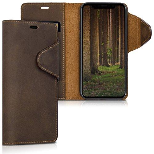 kalibri-Hlle-fr-Apple-iPhone-X-Echtleder-Wallet-Case-Schutzhlle-mit-Fach-und-Stnder-in-Braun