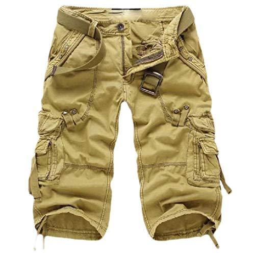 CuteRose Mens Capri Multi-Pockets Back Cotton Solid Rugged Wear Outdoor Combat Karate Pants Khaki 29 -