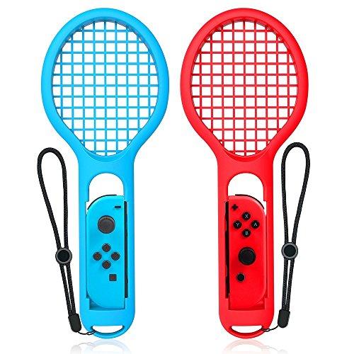 Tennisschläger für Nintendo Schalter Joy-Con Controller, hyouchang 2er Pack Tennisschläger für Mario Tennis Aces Spiel, Griff für Schalter Joy-Cons, Small, 1*Red and 1*Blue