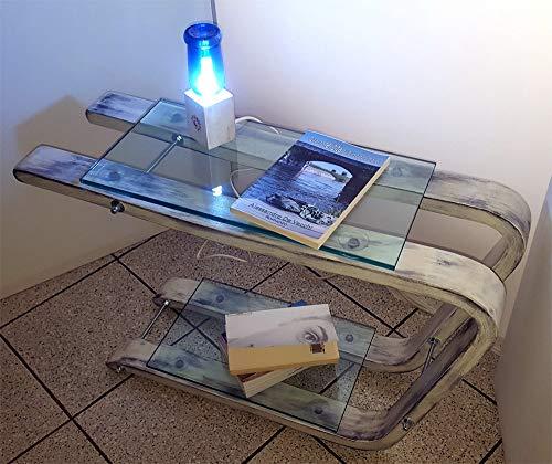 Comodino tavolino di legno con mensole di vetro