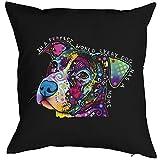 Süßer Hund Hundekopf Motiv Kissen - Hundekissen Neon Farben : In A Perfect World Kissen mit Füllung Farbe: schwarz