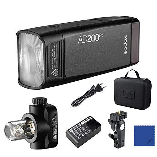 Godox AD200Pro 200Ws 2,4G TTL HSS 1 / 8000s Taschenblitz Monolight Double Head Strobe mit 2900mAh Lithium-Batterie für Nikon Sony Fujifilm Olympus Panasonic Pentax Canon EOS Kameras Pro Monolights