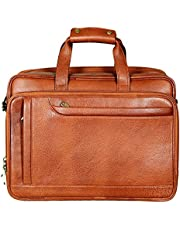 HYATT 100% Genuine Leather 15.6 Inches Rich Grain Leather Laptop/Office Carry-Case Bag.