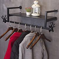 Coat racks SKC Lighting Wrought Iron Vintage Commodity Rack Hook Wall Hanging Rack For Living/Lobby Bedroom Study Rugged/Difficult To Rusty/Removable Black, Bronze (85cm, 105cm, 125cm)