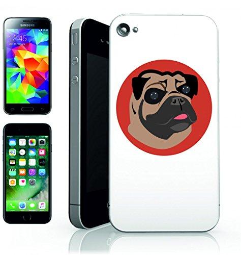 Smartphone Case Pug Cartoon cani di animale domestico del viso carino per Apple Iphone 4/4S, 5/5S, 5C, 6/6S, 7& Samsung Galaxy S4, S5, S6, S6Edge, S7, S7Edge Huawei HTC–Divertimento Motiv di c