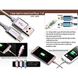 House of Gifts Data Cable 2 Side Cable For Android And Iphone With Light