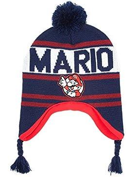 Nintendo Super Mario Bros Mario Bobble Beanie con borlas (Azul)