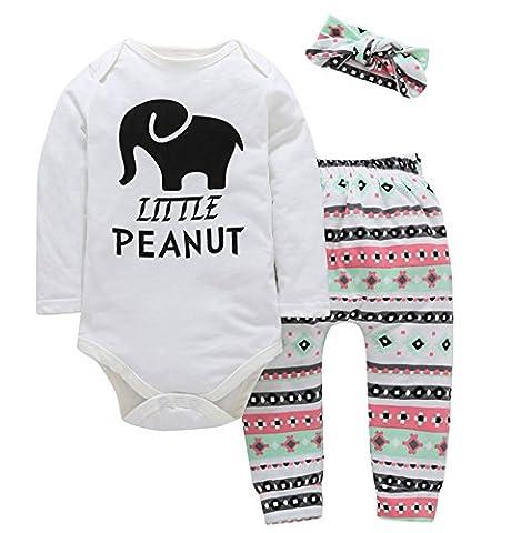 Ibelive 3pcs Neugeborene Säuglingsbaby-Mädchen-kleine Erdnuss-Spielanzug + Hosen Legging Ausstattungs-Kleidung-Satz (70cm(0-3Months))