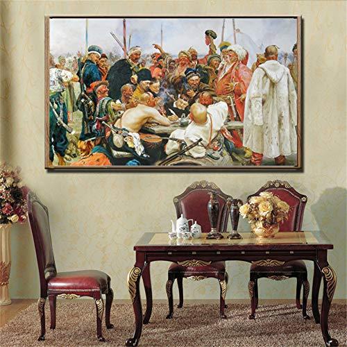 Rjjwai Ilya Yafimovich Repin Die Antwort Der Saporosche Kosaken Auf Sultan Der Türkei Ölgemälde Wandkunst Bild Home Decor Geschenk Zuhause Dekor 40x60cm (Dekor Die Türkei)