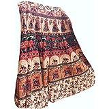 Mogul Interior Womens Cotton Long Beige Wrap Around Beach Skirt One Size White