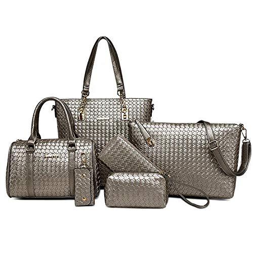 QZTG handtasche Damentaschen Pu-Beutel Set 6 Stück Geldbörse Set Geprägte Blau/Schwarz / Graucross Body Shoulder Bags/Rucksack / Handtaschen - Body Bag Handtasche
