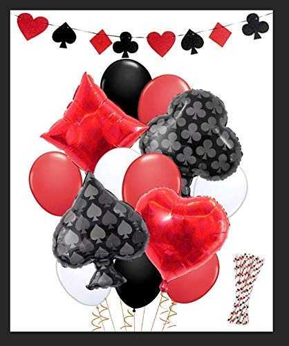 (KREATWOW Casino Party Dekorationen Game Night Casino Strohhalme Ballons Banner für Poker Party Supplies)