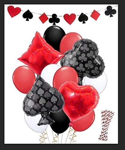 KREATWOW Casino Party Dekorationen Game Night Casino Strohhalme Ballons Banner für Poker Party Supplies