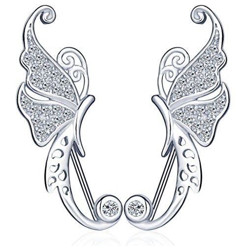 Unendlich U Einzigartig Schmetterling Damen Ohrklemme 925 Sterling Silber Zirkonia Ohrringe Ohrstecker Ear Cuff Ohrschmuck, Silber