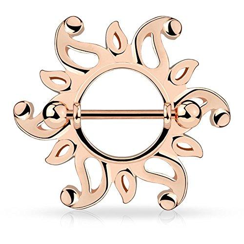 Paula & Fritz® Brustwarzenpiercing aus Edelstahl Chirurgenstahl 316L Rosévergoldet Motiv: Wirbelnder Sonnenkranz