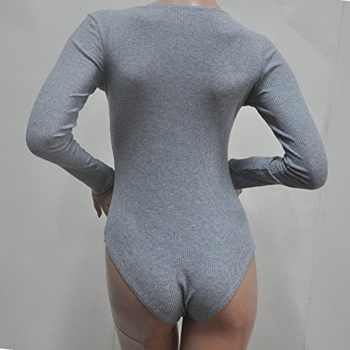 Donne Maglioni Tutine a V Profondo Benda Monopezzi e Tutine a Manica lunga Pantaloncini a Slim Rompers da Donna Sweater Jumpsuit Playsuit Grigio