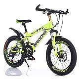 MYMGG Bici Bambino Bambina 20,22 Pollici Unisex Mountain Bike 21 velocità Bambino City Bicicletta,Yellow,22inch