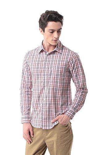 Pau1hami1ton p-13a camicia plaid manica lunga uomo casual slim fit business formal shirt(s,9)