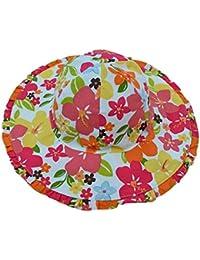 Feoya Chapeau de Soleil Bébé Fille Garçon Anti-UV Bob Soleil en Coton Imprimé Floral avec Cordon Bonnet à Grand Bord Vague en Eté Tour de tête 46cm/54cm