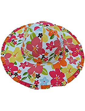 Feoya Baby Mädchen Bucket Hut Stand Sonnenhut Fischerhut Baumwolle - Rot Blumen Pattern