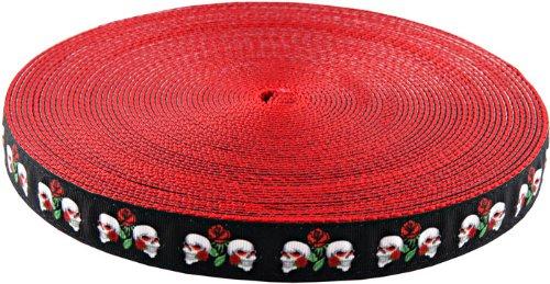 Country Brook Design 2,5cm Totenkopf und Rosen Schleife auf Rot Nylon Gurtband, 10Y.