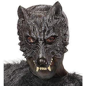 WIDMANN 00456-Máscara de Lobo Mannaro de Látex 2 Unidades, Talla Única de Adulto.