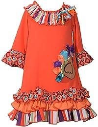 48567900335ec Bonnie Jean Girls Size 2T-6X Thanksgiving Ribbon Ruffle Turkey Dress