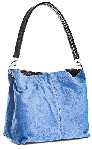 BHBS kleine Damen Schultertasche Hobo Slouch mit einem Riemen-echtes italienisches Leder mit mit Kunstleder Trimen 20 x 23 x 16 cm (B x H x T) himmelsblau