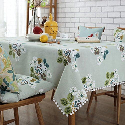 Coton et lin Nappes Drapeau de table Serviette en tissu de couverture de café Placez le tapis Set de table modèle plante fleurs élégant Distingué ( Color : Green , Size : 90cm (circle) )