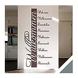 Exklusivpro Wandtattoo Willkommen in 10 Sprachen Flur Diele Eingang mit SWAROVSKI Strass (ban03 grau) 160 x 76 cm mit Farb- u. Größenauswahl