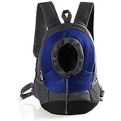 Rantow Transpirable Cómodo portador de mascotas mochila gato perro frente viaje hombro bolsa para el ciclismo, senderismo, viaje, compras(L size Blue)